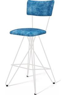 Banqueta Pop Azul Base Estrela Branca 98 Cm (Alt) - 49686 - Sun House