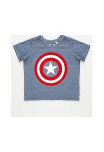 Camiseta Infantil Capitão América Manga Curta Azul