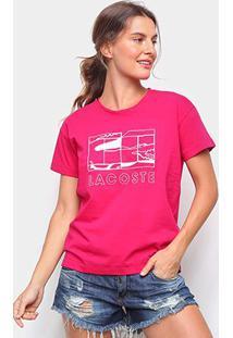 Camiseta Lacoste Jacaré Feminina - Feminino-Rosa