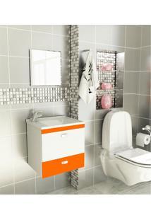 Kit Para Banheiro 3 Peças Sintético Espelho Laranja Tomdo