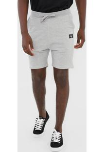 Bermuda Calvin Klein Jeans Reta Amarração Cinza