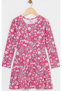 Vestido Infantil Manga Longa Estampado - Tam 5 A 14