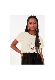 T-Shirt Feminina Estampada Rovitex Bege