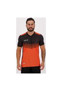 Camisa Ícone Sports Dotted Preta E Laranja