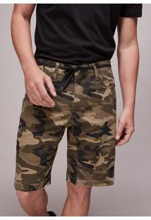 Bermuda De Sarja Masculina Estampada Camuflada Com Faixa Verde Militar
