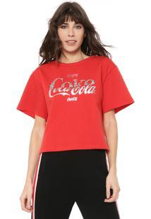 Camiseta Coca-Cola Jeans Lettering Aplicações Vermelha