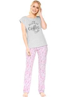 Pijama Cor Com Amor Coffee Cinza/Rosa