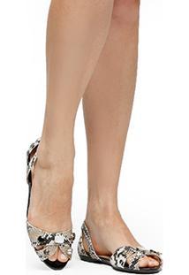 Sapatilha Couro Shoestock Cobra Pedras Feminina - Feminino