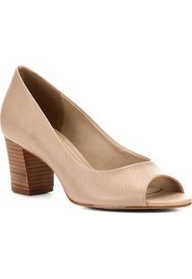 Peep Toe Couro Shoestock Salto Médio - Feminino-Bege