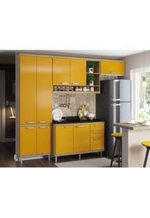 Cozinha Compacta Iporá 9 Pt 3 Gv Argila E Amarela