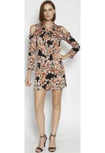 Vestido Floral Com Recortes Vazados & Babados - Preto & Moiselle