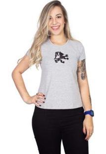 Camiseta 4 Ás Manga Curta Bordada Com Dragão Feminina - Feminino-Cinza