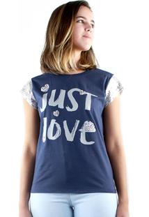 T-Shirt Multi Ponto Denim Estampa Just Love Azul Marinho