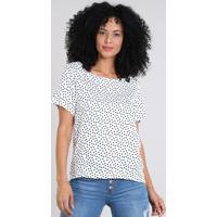 ca3e16c61 Blusa Feminina Estampada De Poá Manga Curta Decote Redondo Off White