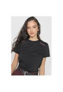 Camiseta Forum Lettering Neon Preta/Rosa
