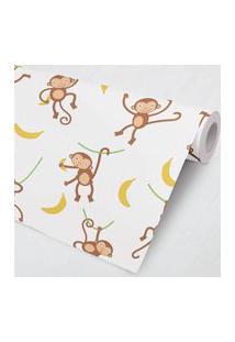 Papel De Parede Macaco Bananinha 3M Gráo De Gente Marrom