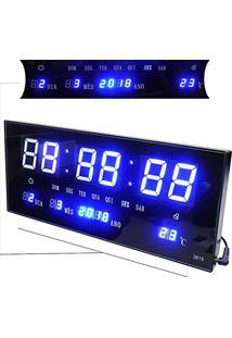 57b7aff978d Relogio De Parede Som Termo Temperatura De Led Azul Digital (Rel-56)