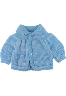 Casaco Para Bebê Era Uma Vez Em Tricot Azul Claro