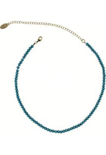 Colar Choker Mini Cristais Denim Blue By La Madame Co