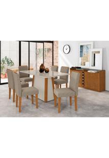 Conjunto De Mesa De Jantar Com Tampo De Vidro Júlia E 6 Cadeiras Ana Veludo Linho Off White E Cinza
