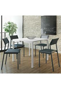 Mesa 1525 Branca Com 4 Cadeiras 1709 Color Uv Azul Noturno Carraro