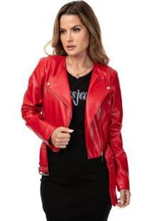 Jaqueta Ls Renna Cropped Moto Reckless Red Mult Feminina - Feminino-Vermelho
