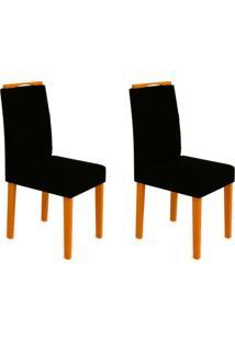Conjunto Com 2 Cadeiras Isabela Ii Ipê E Preto