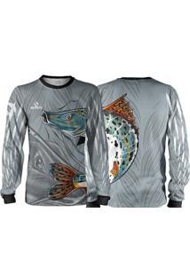 Camisa Pesca Quisty Pintado Moleque Cinza Proteção Uv Dryfit Infantil/Adulto - Kanui