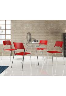 Conjunto Mesa 1527 Com Vidro Incolor Cromada Com 4 Cadeiras 1711 Vermelha Carraro