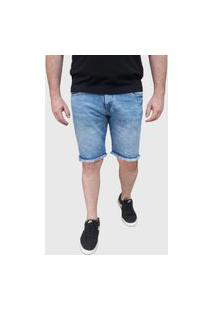 Bermuda Jeans Aizone Desfiado Azul Claro