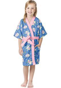 Roupão Aveludado Infantil Quimono Estampado Frozen M Com 1 Peça Lepper Azul
