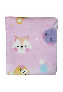 Cobertor Bebê Antialérgico Flannel Prime Hazime Rosa