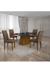 Conjunto De Mesa Com 4 Cadeiras Pampulha Ii Canela E Marrom