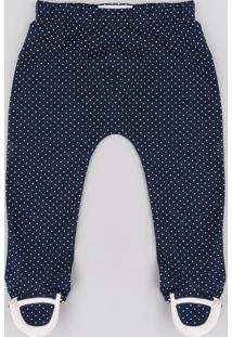 Calça Infantil Estampada De Poá Com Pezinho Azul Marinho
