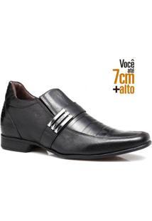 Sapato Social Couro Rafarillo Masculino Salto 7Cm Flexível - Masculino-Preto