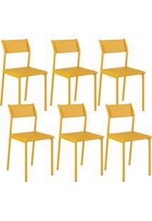 Cadeira Carraro 1709 Amarelo 6 Cadeiras