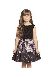 Vestido Infantil Renda Preta E Saia Rodada Flores Guipir Ninali