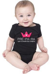 Body Criativa Urbana Bebê Frases Engraçadas Menina Poderosa - Unissex-Preto