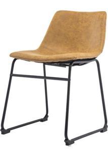 Cadeira Turtle Assento Courino Caramelo Com Base Aco Preto - 53184 - Sun House