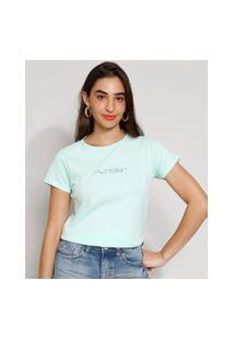 "Camiseta Feminina Manga Curta ""Paz Interior"" Decote Redondo Verde Claro"
