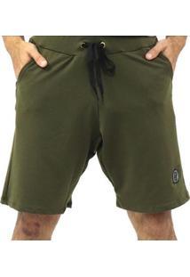 Bermuda Dpontes Moletom Com Cordão 2 Bolsos Masculina - Masculino-Verde Escuro