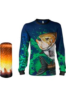 Camisa Pesca Quisty Tambaqui Verde Proteção Uv Dryfit Infantil/Adulto - Kanui