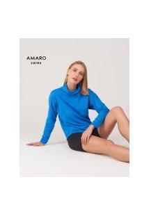 Amaro Feminino Camiseta Manga Longa Cava Deslocada, Azul