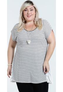 Blusa Feminina Plus Size Listrada Recorte Marisa