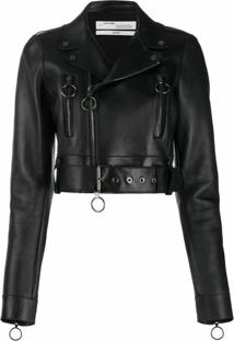 Off-White Jaqueta Biker Cropped - Preto