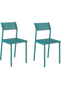 Kit 2 Cadeiras 1709 Turquesa - Carraro Móveis