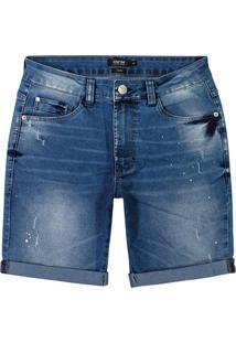 Bermuda Azul Slim Jeans Stretch Masculino