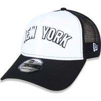 79bf5f6dfe0df Boné New Era 940 Snapback Trucker New York Yankees Branco Preto