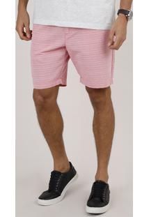 Bermuda De Sarja Masculina Slim Listrada Com Bolsos E Cordão Rosa