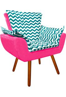 Poltrona Decorativa Opala Suede Composê Estampado Zig Zag Verde Tiffany D78 E Suede Rosa Barbie - D'Rossi